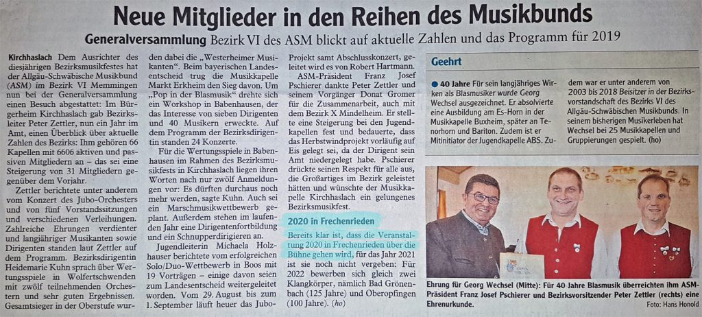Zeitungsbericht über die Bezirksversammlung 2019 in Kirchhaslach