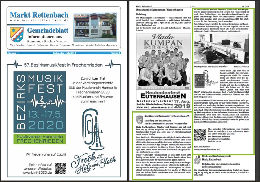 Musikverein Harmonie Frechenrieden BMF 2020 Gemeindeblatt März Ausgabe Markt Rettenbach