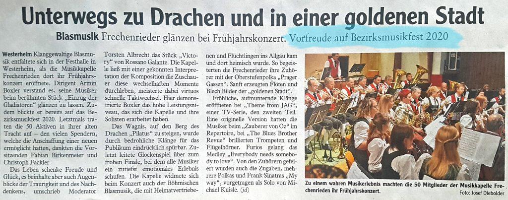 Jahreskonzert 2019 Musikverein Harmonie Frechenrieden Memminger Zeitung