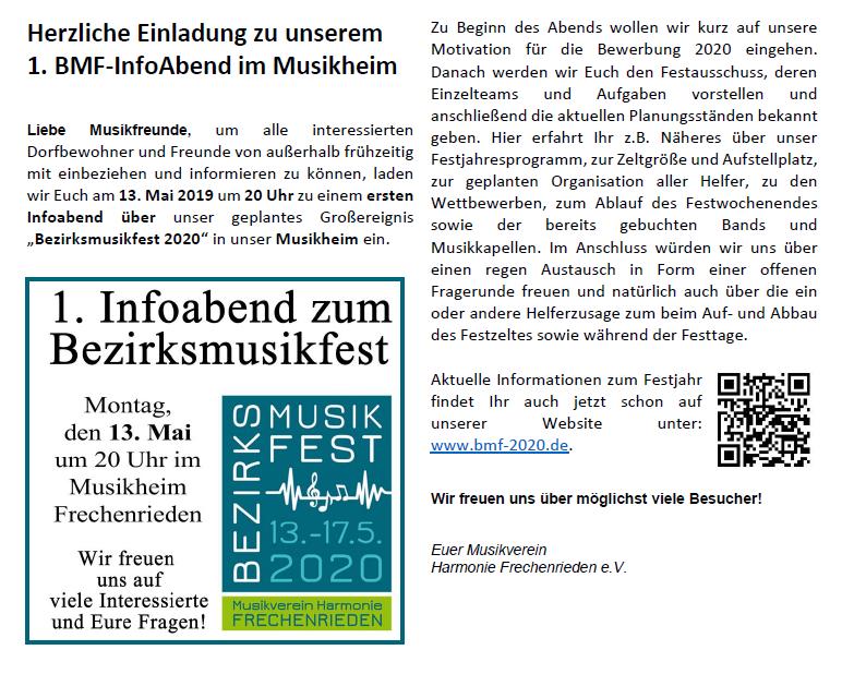 Musikverein Harmonie Frechenrieden BMF 2020 Gemeindeblatt Mai Ausgabe Markt Rettenbach 1. Infoabend