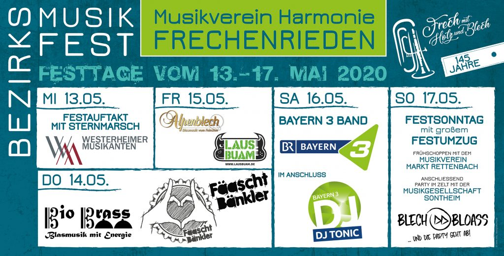 Festprogramm BMF 2020 Frechenrieden